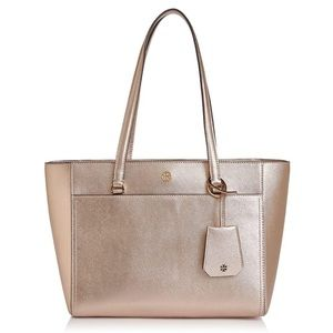 Tory Burch Small Robinson Leather Tote Rose Gold